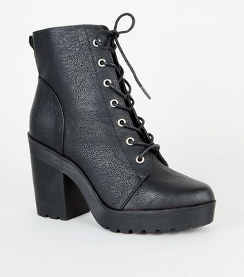 Black Leather-Look Heeled Lace Up Boots