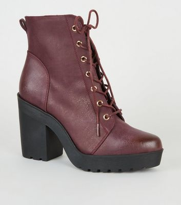 Dark Red Leather-Look Heeled Lace Up Boots