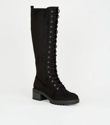 Black Suedette Lace-Up Calf Hiker Boots