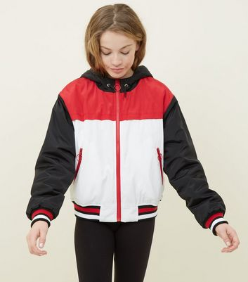 Girls Red Colour Block Padded Windbreaker