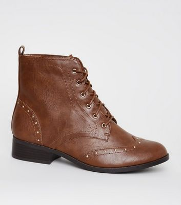 Brown Leather-Look Studded Brogue Boots
