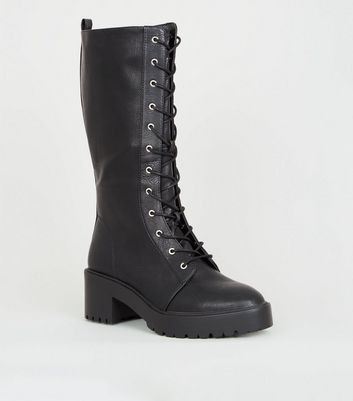 Black Chunky Lace Up Calf Boots