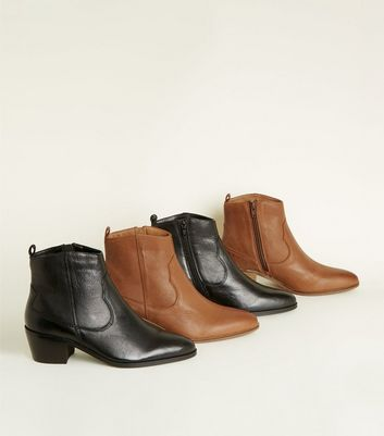 Black Leather Western Ankle Boots | New