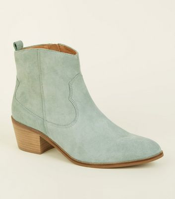 Mint Green Suede Western Ankle Boots