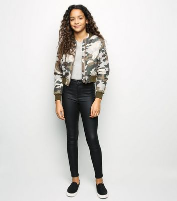 Girls Green Camo Bomber Jacket