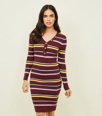 Burgundy Stripe Ribbed Button Front Bodycon Dress