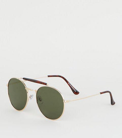 e2cd9bf914 ... Gold Faux Tortoiseshell Brow Bar Pilot Sunglasses ...