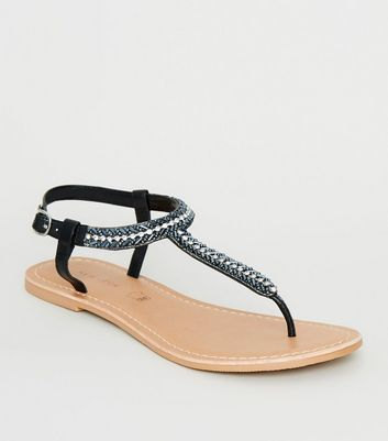 Black Leather Diamanté and Bead Sandals