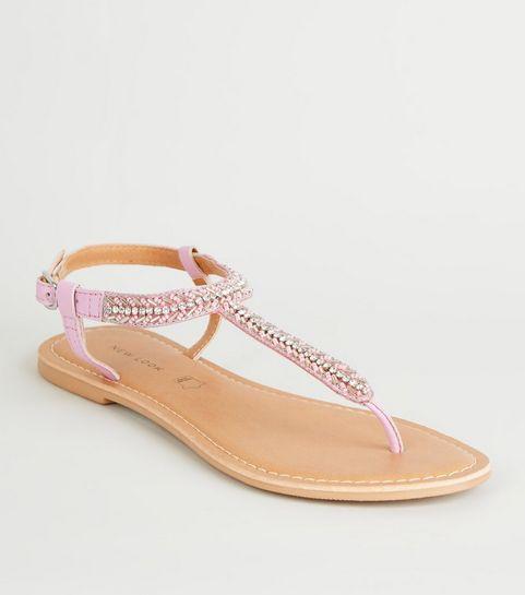 1453a8d6d6bd6 ... Lilac Leather Strap Diamanté and Bead Sandals ...