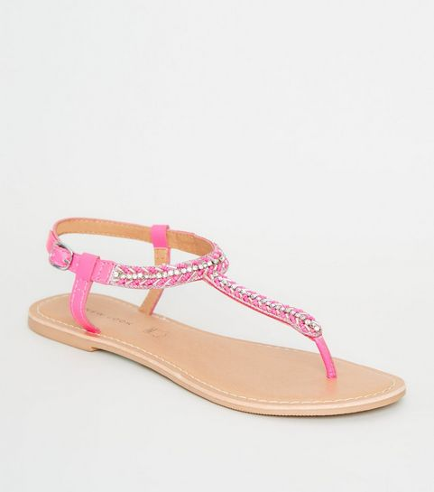 92e7a02901ac7 ... Bright Pink Leather Strap Diamanté and Bead Sandals ...