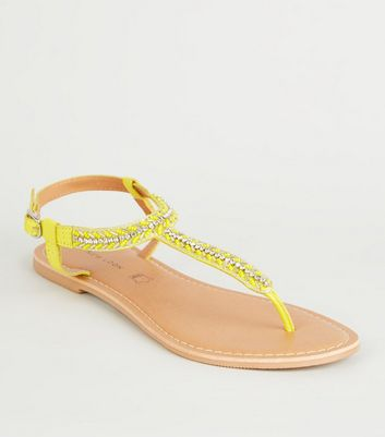 Yellow  Leather Strap Diamanté and Bead Sandals