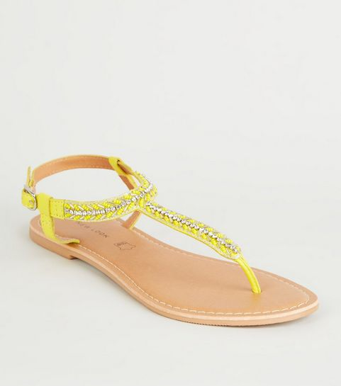 62efe237058ba ... Yellow Leather Strap Diamanté and Bead Sandals ...