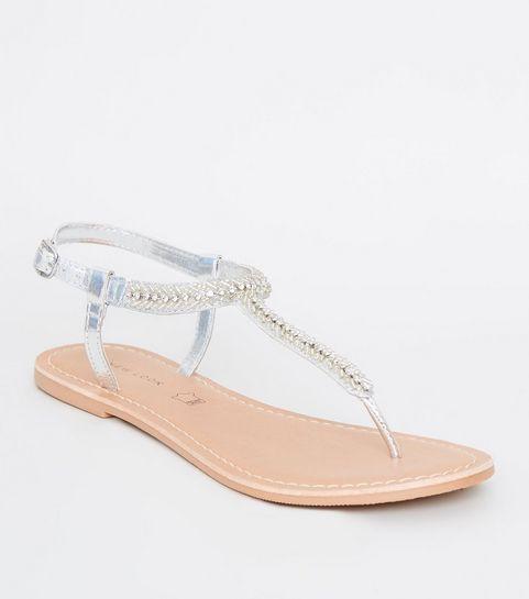 ... Silver Leather Diamanté and Bead Classic Sandals ... a69d00421b51