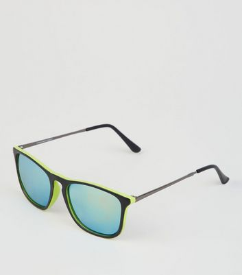 Yellow Neon Mirrored Keyhole Sunglasses