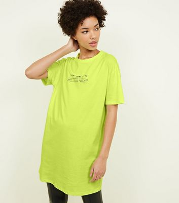 Yellow Neon NYC Slogan Longline T-Shirt