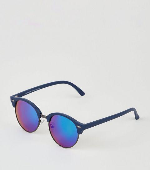 1c17af6307 ... Blue Round Frame Retro Sunglasses ...
