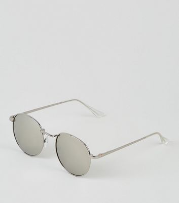 Silver Round Reflective Lens sunglasses