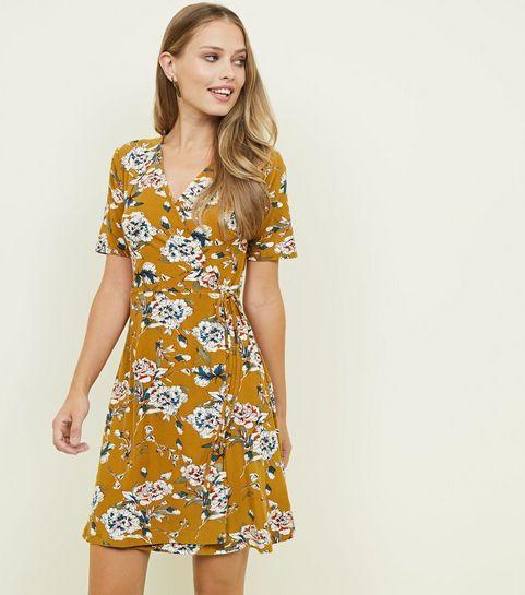 Womens yellow dresses mustard gold dresses new look blue vanilla mustard floral wrap dress mightylinksfo