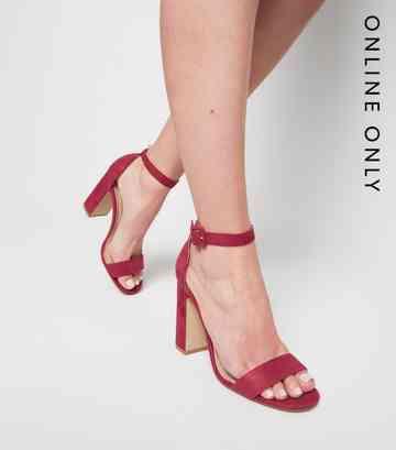 b2892b1e22 Deep Pink Suedette 2 Part Block Heels ...