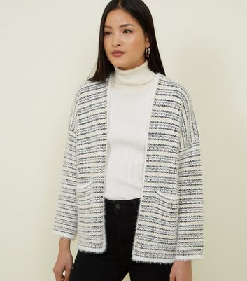 Off White Eyelash Knitted Cardigan