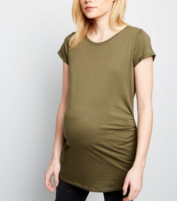 Maternity Khaki Cotton T-Shirt