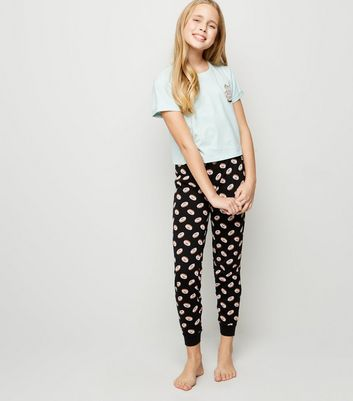 Girls Blue Dog Doughnut Slogan Pyjama Set