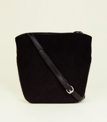 Black Faux Snake Panel Bucket Bag by New Look
