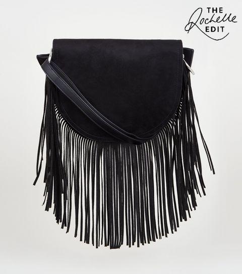 ac3eccc0ff5e ... Black Suedette Fringe Cross Body Bag ...