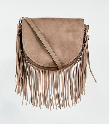 Mink Suedette Fringe Cross Body Bag