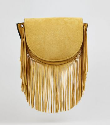Yellow Suedette Fringe Cross Body Bag