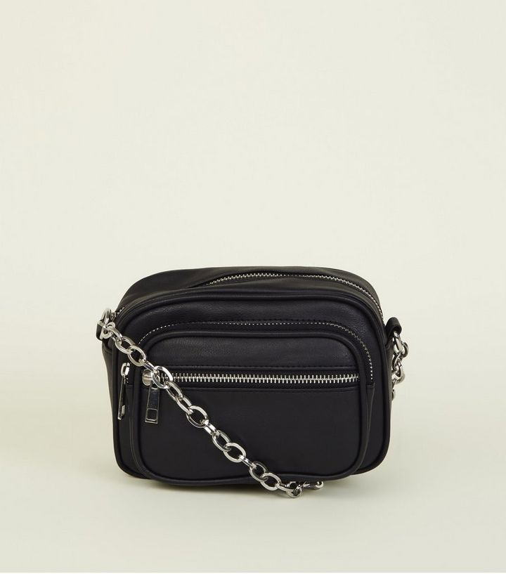 983451fa0b7 Black Leather-Look Chain Cross Body Bag
