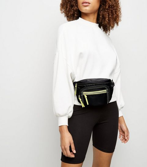 bfe5c70316d ... Black High Shine Neon Sports Bum Bag ...