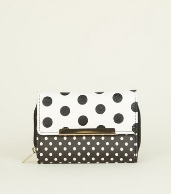 Monochrome Mixed Spot Print Purse