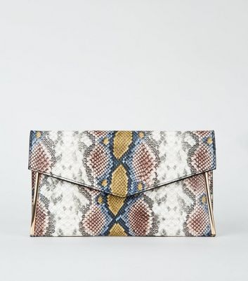 Multicoloured Faux Snake Envelope Clutch