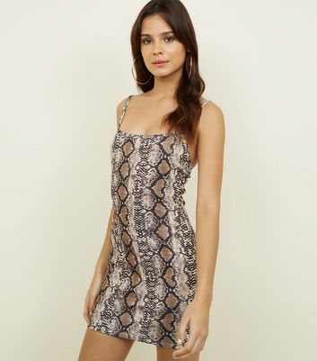 Cameo Rose Brown Snake Print Bodycon Dress