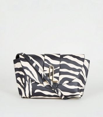 Black Zebra Print Cross Body Bag