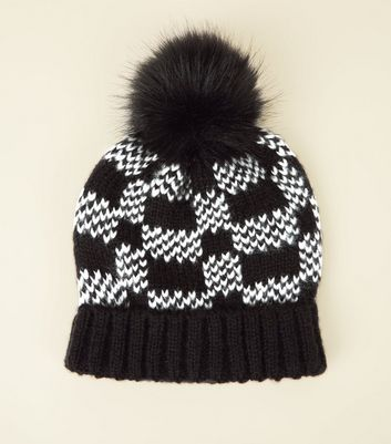 Black Checkerboard Faux Fur Bobble Hat