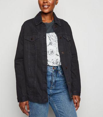 Black Oversized Button Up Denim Jacket