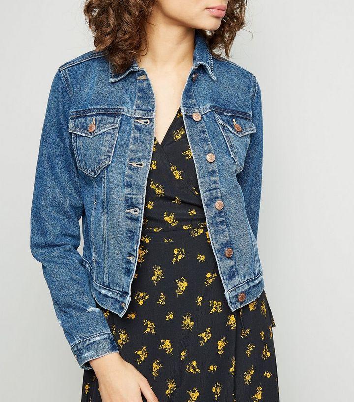 a68556a95f63 Blue Distressed Denim Jacket   New Look
