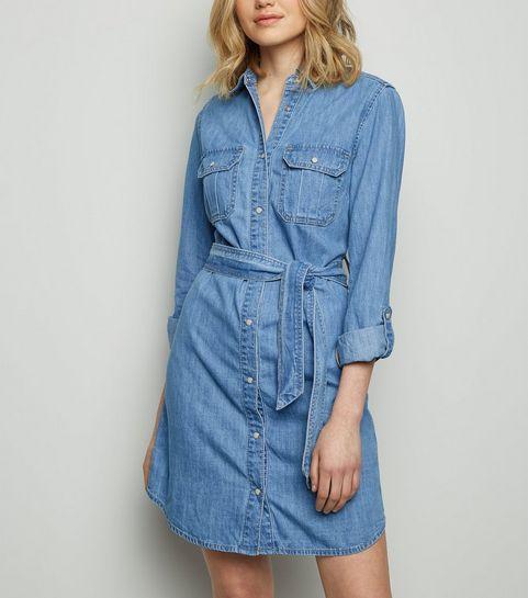5b9b17adfd ... Pale Blue Belted Denim Shirt Dress ...