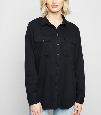 Black Fray Hem Oversized Denim Shirt