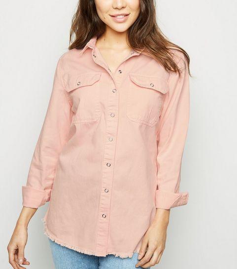 ... Pale Pink Fray Hem Oversized Denim Shirt ... f6cdf2b4c0e