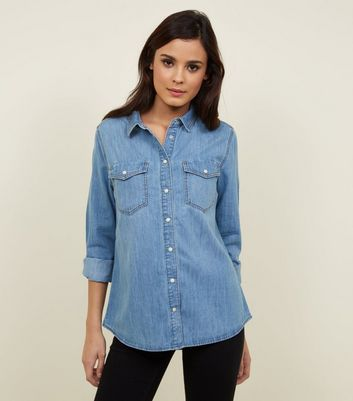 Blue Denim Utility Pocket Shirt