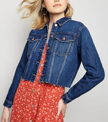 Blue Raw Hem Cropped Denim Jacket