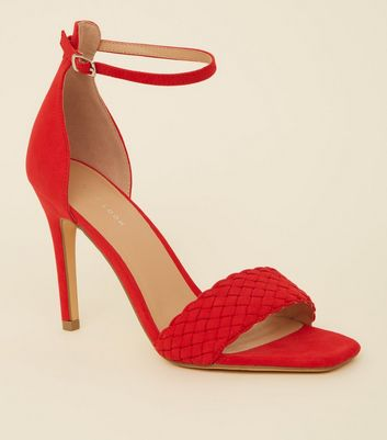 Red Suedette Woven Strap Stiletto Heels