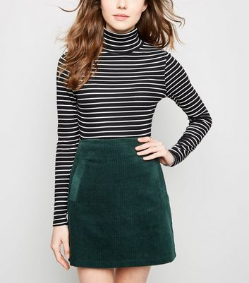 Dark Green Welt Pocket Corduroy Skirt