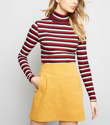 Yellow Welt Pocket Corduroy Skirt