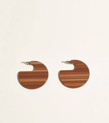 Rust Stripe Acrylic Disc Earrings