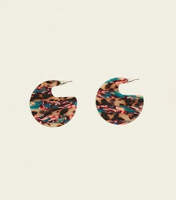 Mutli Colour Stripe Acrylic Disc Earrings