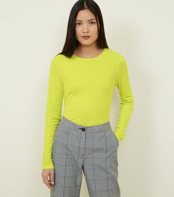 Neon Green Ribbed Crew Neck Long Sleeve Top
